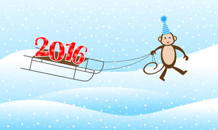 upcoming: Funny monkey on a sled driven by numbers 2016, vector illustration