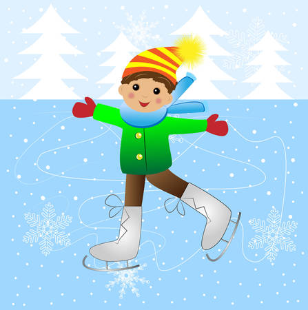 Cheerful boy skating on ice, vector illustration