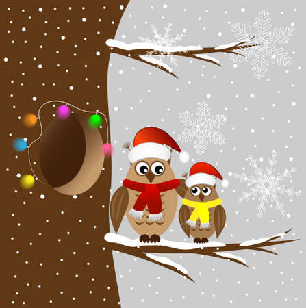 winter tree: Two owls sitting on a tree branch, vector illustration
