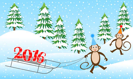 driven: Two funny monkeys on a sled driven by numbers 2016, vector illustration