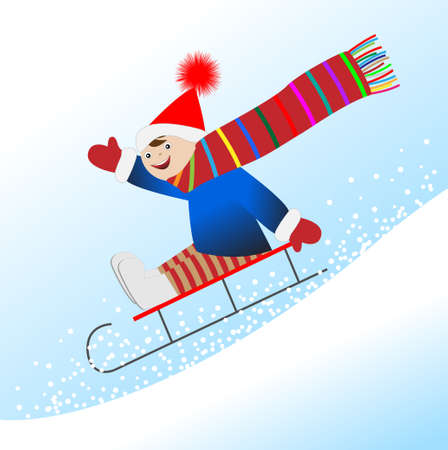 rolling landscape: Cheerful boy is rolling on a sledge from the mountain, vector illustration Illustration