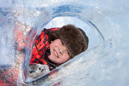 Boy in ice sculptures