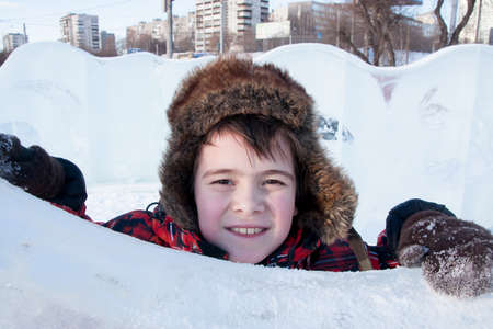Boy in ice sculptures , Lenin Street