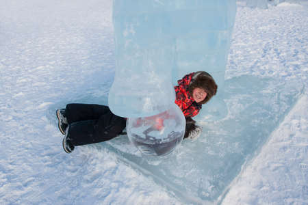 ice sculpture: Boy in ice sculpture, urban esplanade, Lenin Street