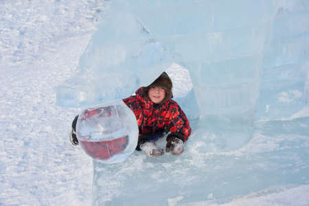 ice sculpture: Boy in ice sculpture , Lenin Street Stock Photo