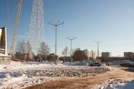 PERM, RUSSIA, Feb, 06.2016: Winter urban landscape, street Krupskaya