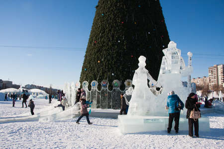 lenina: PERM, Russia, February, 06.2016: Icy new years town on the Esplanade,   Lenina Street