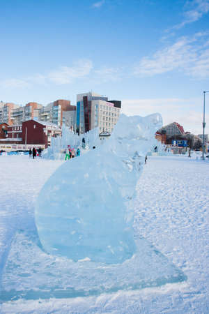 ice sculpture: PERM, Russia, February, 06.2016: a beautiful ice sculpture of a bear on the Esplanade, the symbol of the city, Lenin Street