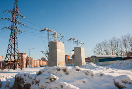 electric station: PERM, RUSSIA, Feb, 06.2016: Winter cityscape with electric station, street Uinskoye Editorial