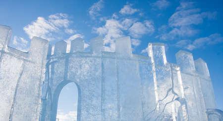 lenina: PERM, Russia, February, 06.2016: beautiful ice sculptures on the Esplanade,   Lenina Street