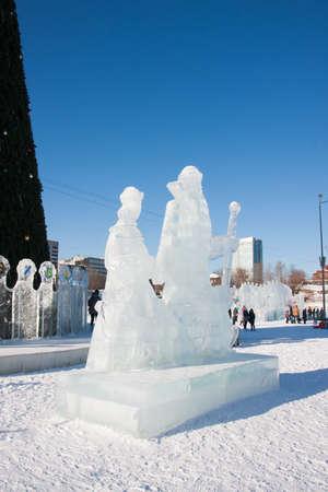 snow maiden: PERM, RUSSIA, Feb, 06.2016: Ice sculptures of Santa Claus and Snow Maiden, City esplanade, Lenin Street