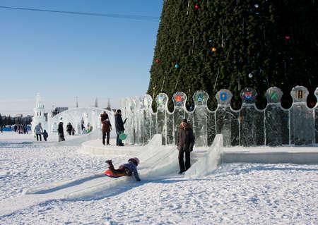 lenina: PERM, Russia, February, 06.2016: Icy new years town on the Esplanade,   Lenina Street