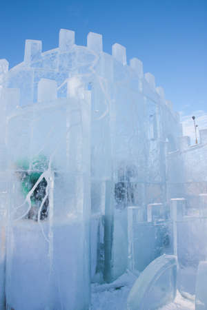 lenina: PERM, Russia, February, 06.2016: beautiful ice sculptures on the Esplanade,   Lenina Street