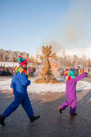 perm: PERM, RUSSIA - March 13, 2016: Burning effigies of Carnival on the Esplanade