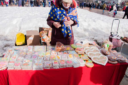 13: PERM, RUSSIA - March 13, 2016: Trade stalls selling souvenirs and cakes at the celebration of Carnival Editorial