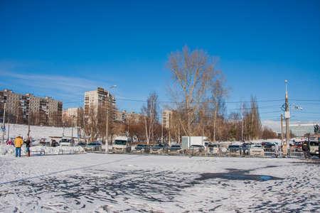 ade: PERM, RUSSIA - March 13, 2016: Winter cityscape on the Esplanade, the celebration of Carnival Editorial