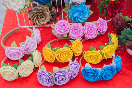 perm: PERM, RUSSIA - March 13, 2016: A beautiful decoration with colorful roses in celebration of Maslenitsa