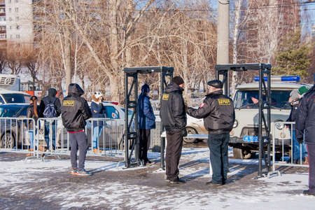 13: PERM, RUSSIA - March 13, 2016: Security at the entrance to the esplanade, the celebration of Carnival