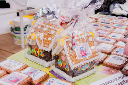 perm: PERM, RUSSIA - March 13, 2016: Trade Fair with delicious cakes at the celebration of Carnival Editorial