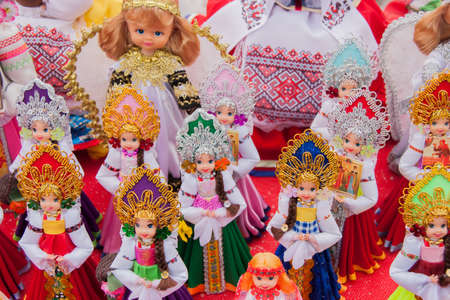 gamme de produit: PERM, RUSSIA - March 13, 2016: Trade stalls selling soft toys in celebration of Maslenitsa Éditoriale