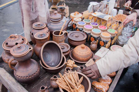 PERM, RUSSIA - March 13, 2016: Beautiful tableware made of clay, the celebration of Carnival Editorial
