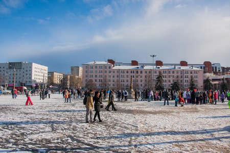PERM, RUSSIA - March 13, 2016: Winter cityscape on the Esplanade, the celebration of Carnival Editorial