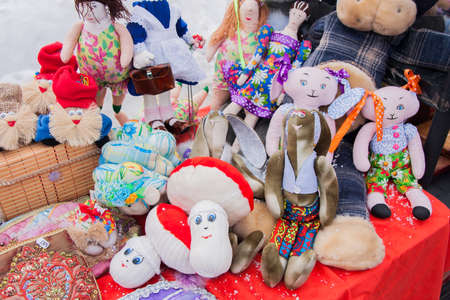 PERM, RUSSIA - March 13, 2016: Trade stalls selling soft toys in celebration of Maslenitsa Editorial