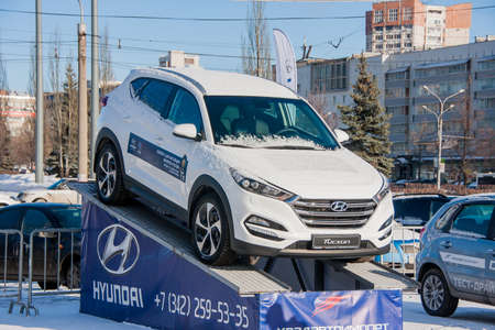 PERM, RUSSIA - March 13, 2016: Car on the esplanade, Lenin Street Editorial