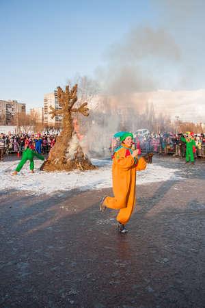 PERM, RUSSIA - March 13, 2016: Burning effigies of Carnival on the Esplanade