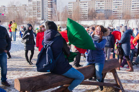 PERM, RUSSIA - March 13, 2016: Fight bags on the balance beam, celebrating Shrovetide