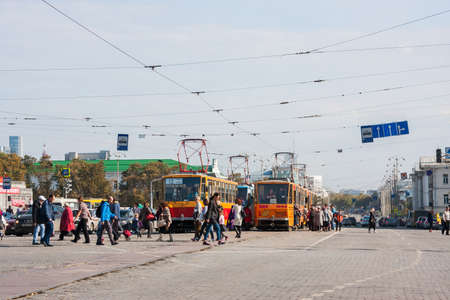 Ekaterinburg, Russia - September 24,2016: Public transport - a tram, traffic