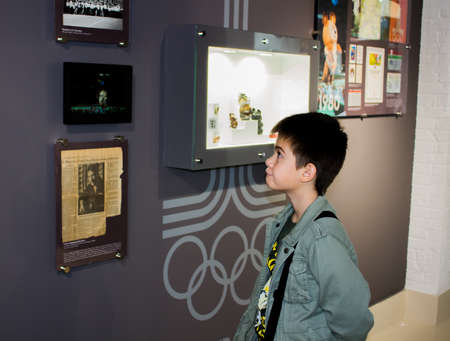 Ekaterinburg, Russia - September 24.2016:  Boy at excursion in Vladimir Vysotskys museum
