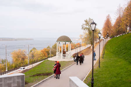 rotunda: Perm, Russia - September 28.2016: Alley on embankment the river Kama with a rotunda autumn day Editorial