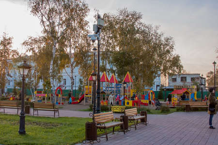 Tyumen, Russia - October 01.2016:  Childrens playground in park on the areas of Fighters of Revolution, a city landscape