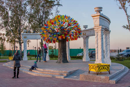 Tyumen, Russia - October 01.2016: Tree of Happiness in park on the areas of Fighters of Revolution