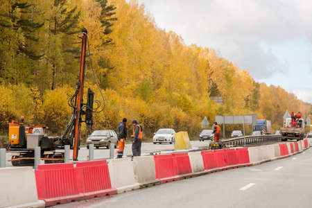 Ekaterinburg, Russia - October 02.2016: Repair road works on a line Ekaterinburg-Perm