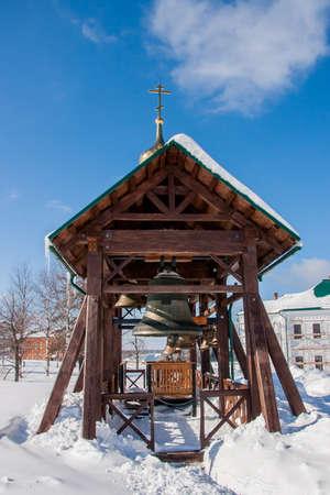 Belfry on the White Mountain in winter in the Perm Krai, Russia