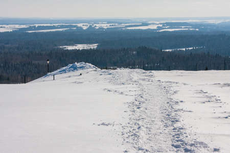 Beautiful winter landscape on the Ural expanses, view from the White Mountain in  Perm region, Russia