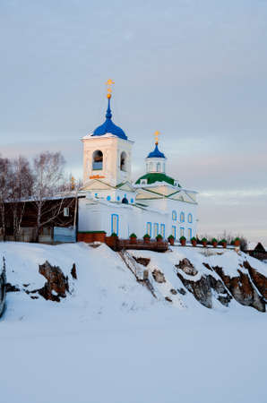 Sverdlovsk Region, Russia - Church of St. George the Victorious in the village of Sloboda at sunset