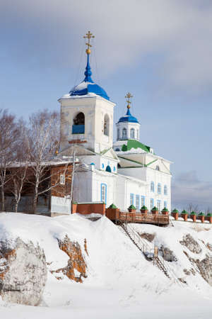 Church of St. George the Victorious in winter in the village of Sloboda, Sverdlovsk region, Russia Reklamní fotografie