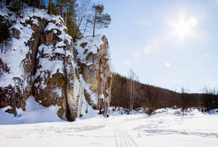 Winter landscape on the river Chusovoy with beautiful rocks, Sverdlovsk region, Russia Stock Photo