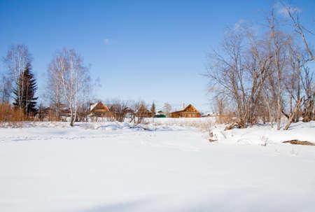 冬の農村風景、スベルドロフスク地域、ロシア 写真素材
