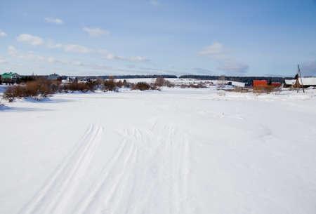 ural: Winter rural landscape on the river Chusovoy in the village of Sloboda, Sverdlovsk region, Russia Stock Photo