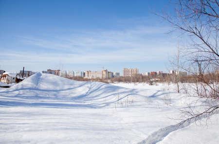 新居高度の冬の風景。パーマ, ロシア 写真素材