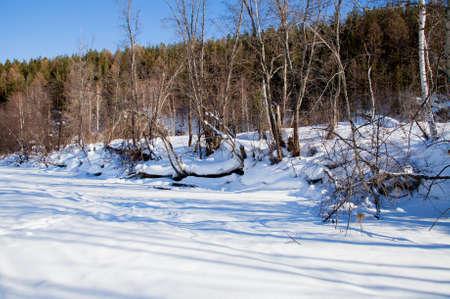 ural: Winter landscape on river Chusovaya, Sverdlovsk region,   Russia