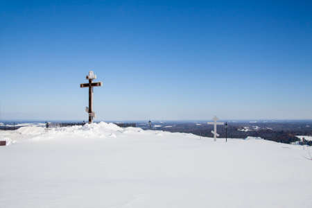 Perm, Russia - March 08.2017: Royal Cross on White Mountain near Belogorsky St. Nicholas Monastery