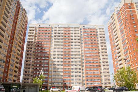 Perm, Russia - June 13.2017:  Court yard of an inhabited modern complex Editorial