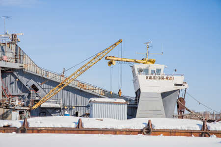 backwater: Perm, Russia - March 11.2017: Shipyard in the backwater of the Kama river in winter