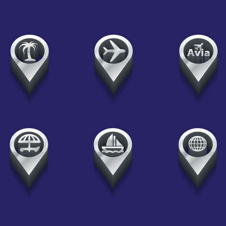 interface menu tool: black and white travels icons. isometric styles. Vector Illustration