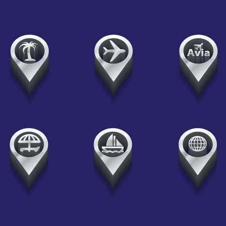 interface menu tool: in bianco e nero viaggia icone. stili isometriche. Vettore